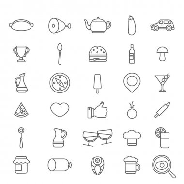 Line art style of restaurant icons