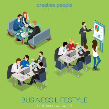 Flat 3d web isometric office meeting room report business collaboration teamwork brainstorming negotiation infographic concept interior vector set. Businessmen around table. Creative people collection clip art vector