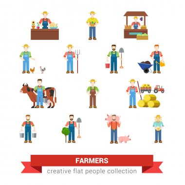 Flat style set of farm profession