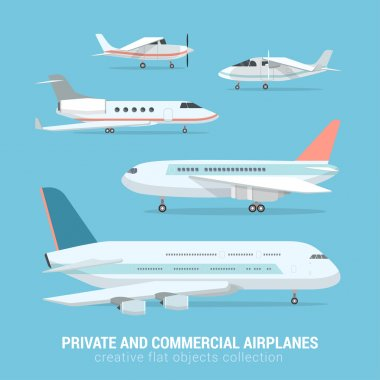set of commercial and private airplanes.