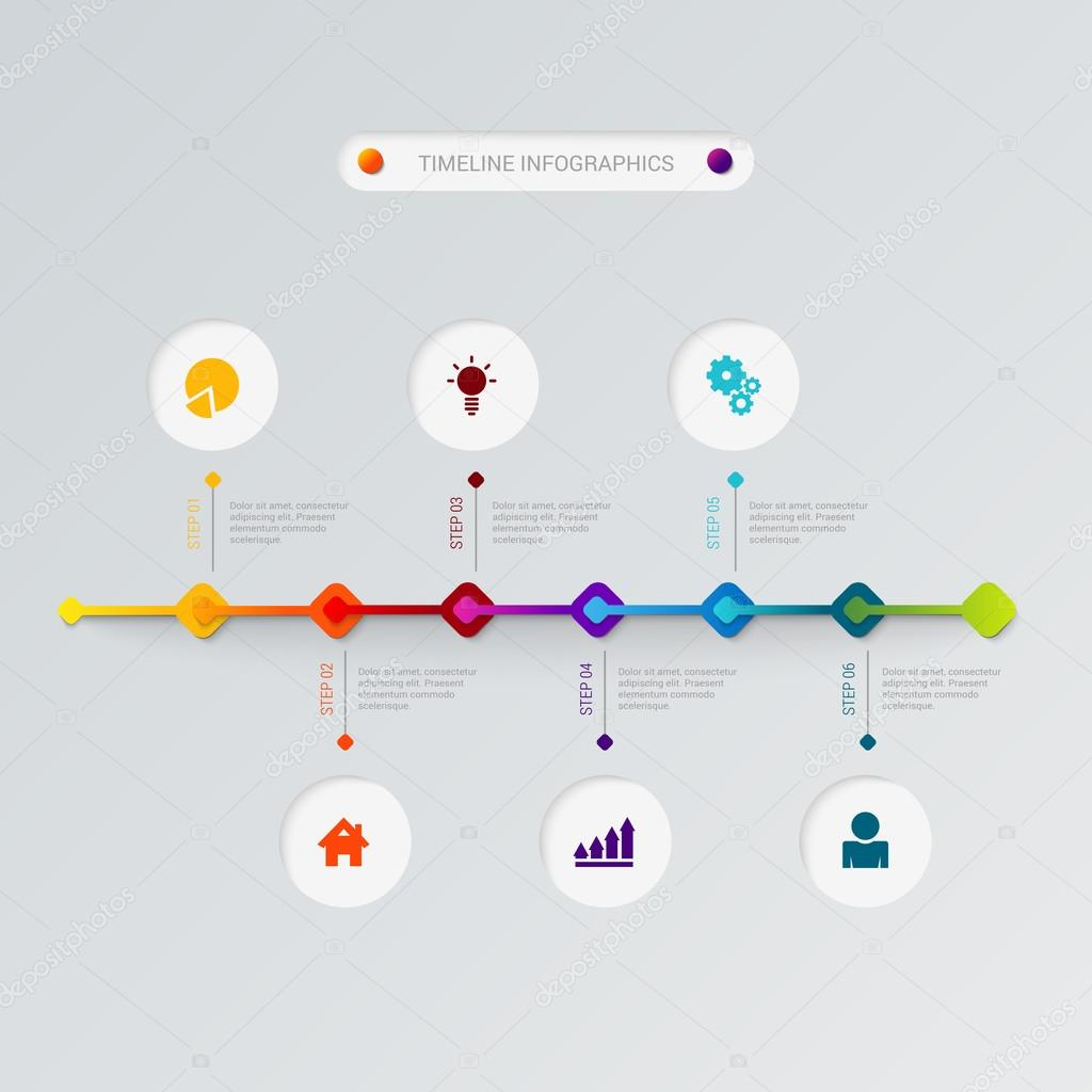 stylish timeline icons process corporate company history business infographics template mockup web site infographic finance report background concepts