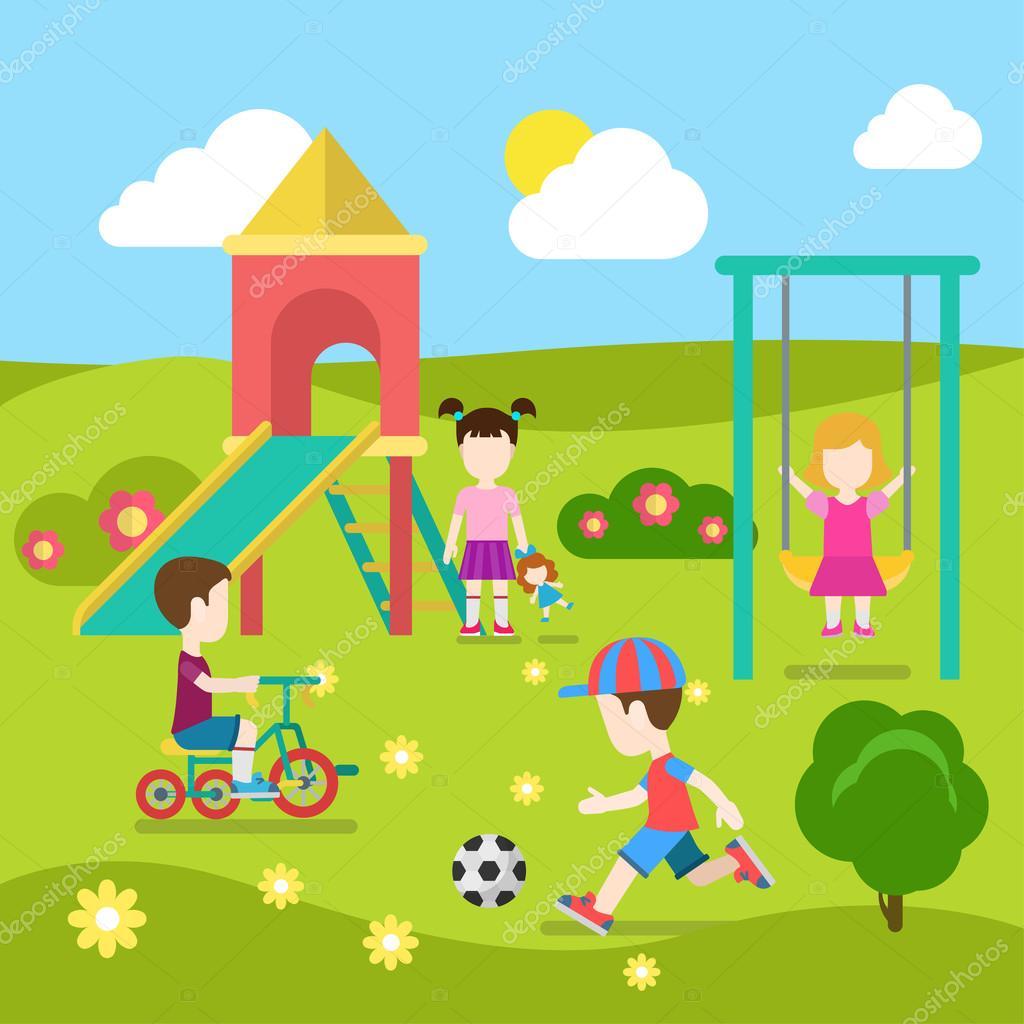 playground happy children play ストックベクター sentavio 83141856
