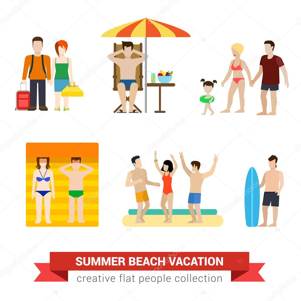 Beach Vacation People Family Stock Vector