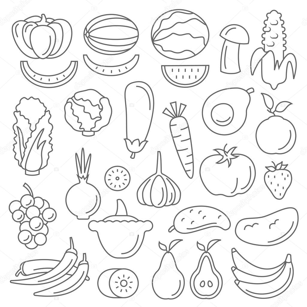 Line art set of fruits and vegetables