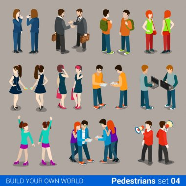quality city pedestrians icons set