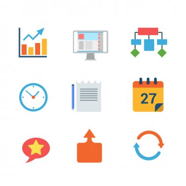 Flat style business icon set.