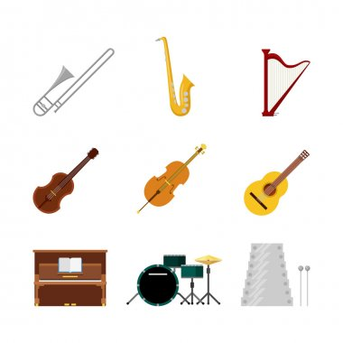 music band instruments icon set.