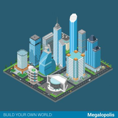 isometric megalopolis business city