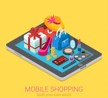 isometric creative mobile shopping