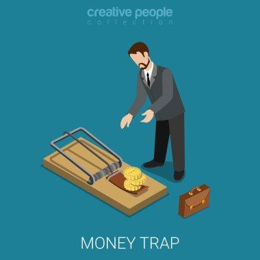 businessman lean over mousetrap