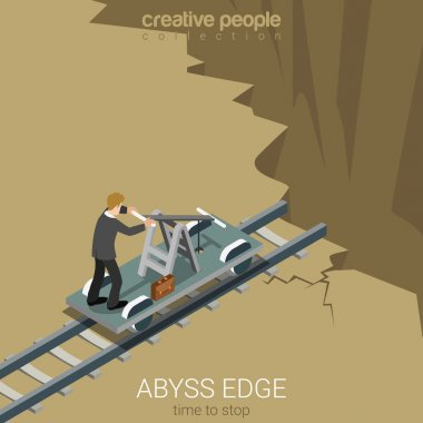 Flat 3d isometric style abyss edge time to stop business concept web infographics vector illustration. Businessman drive railway handcar trolley to gulf chasm earth fault. Creative people collection. stock vector