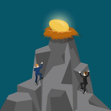 Businessmen climb up mountain