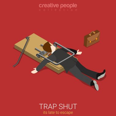 businessman shut in trap