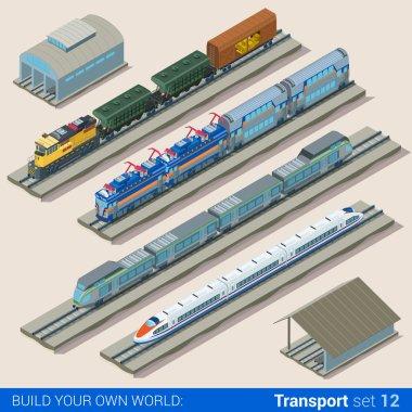 isometric style set of train depot