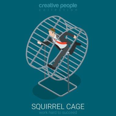 Businessman in squirrel cage running