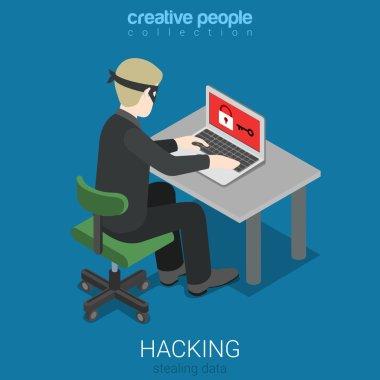 hacker attack intruding laptop computer