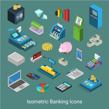 banking financial icons set