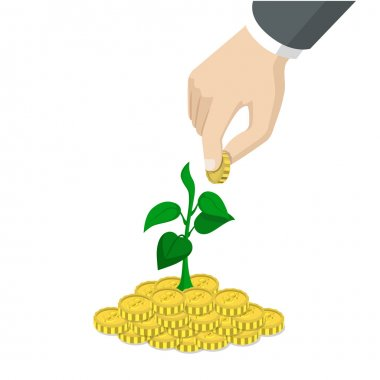 hand throw coin into  growing sprout