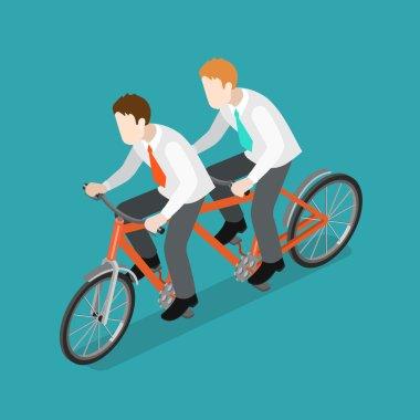 businessmen riding dual tandem bike