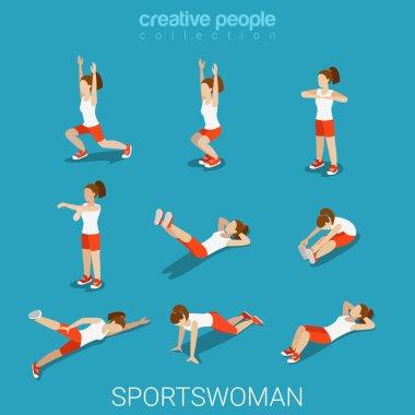 isometric style sportswoman