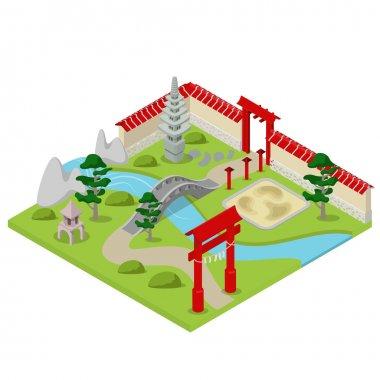 isometric Japanese garden city