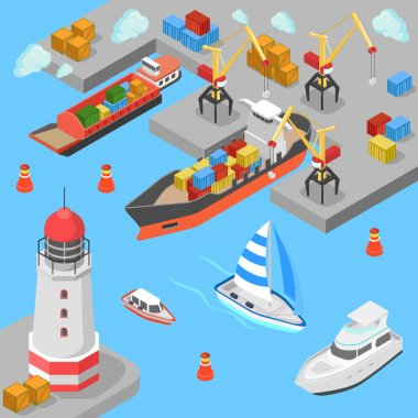 isometric nautical transport cargo shipping