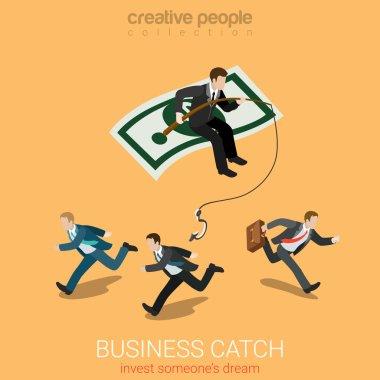 Businessman on dollar carpet fishing startuppers
