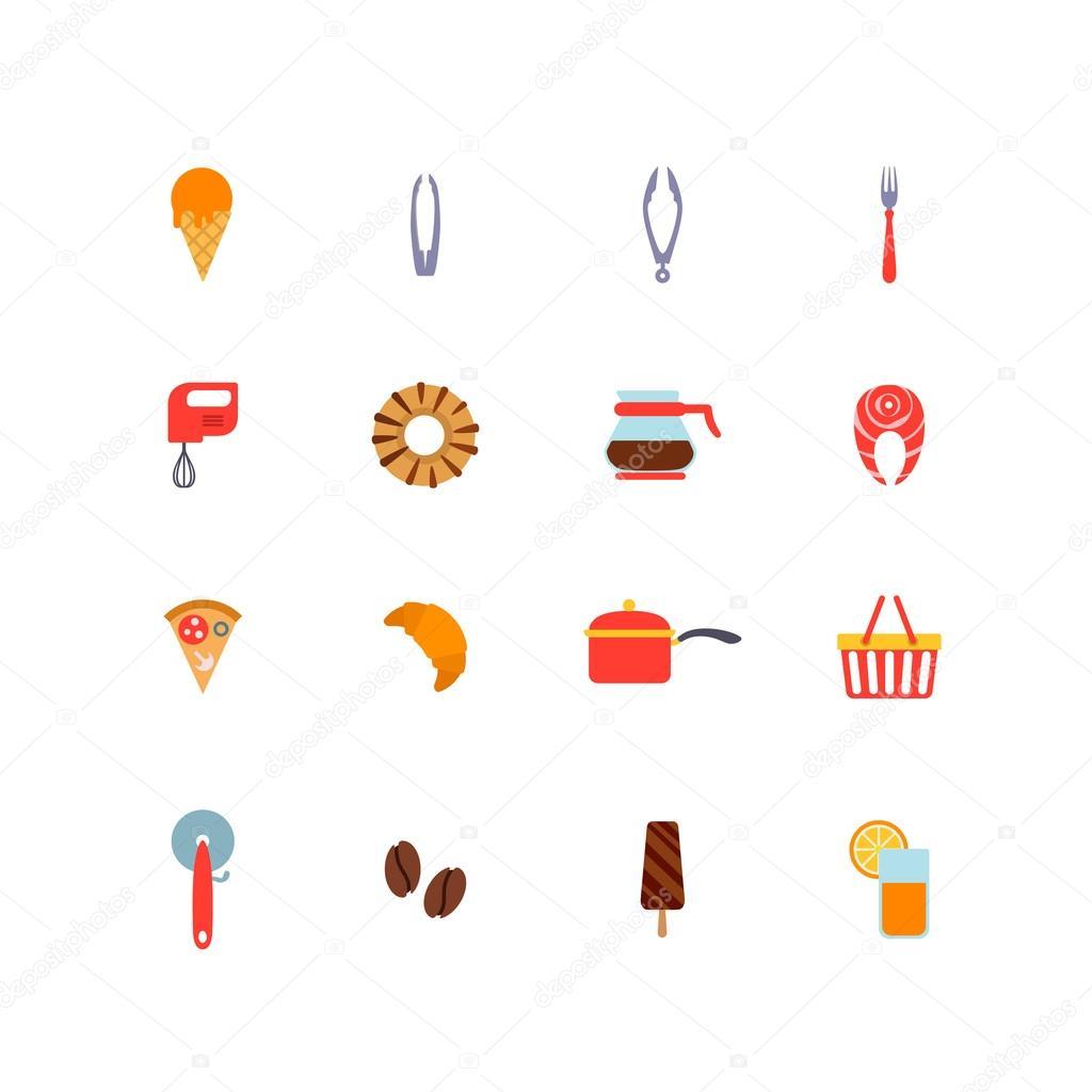 Küche-Sachen Kochen und Essen-Symbole — Stockvektor © Sentavio #90651306