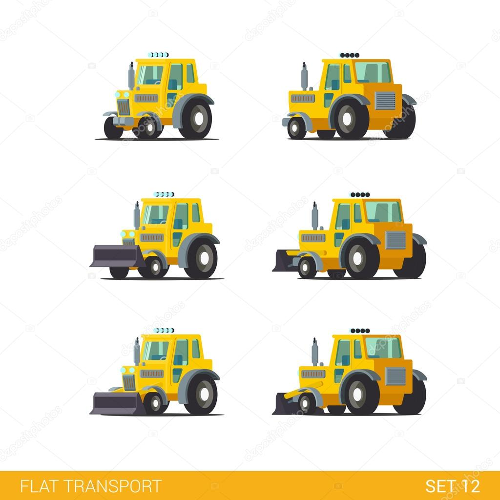 construction transport icon set