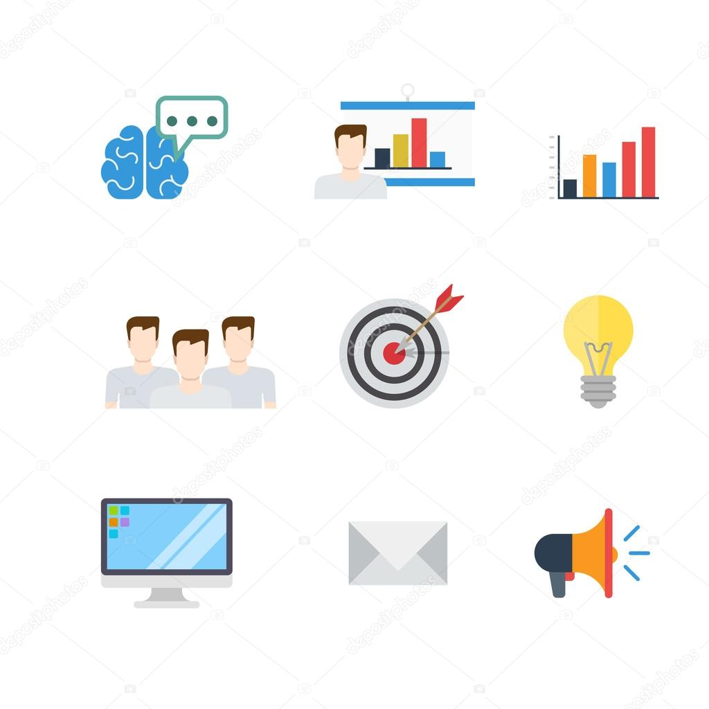 Marketing PR SEO infographic icons — Stock Vector © Sentavio #90651398