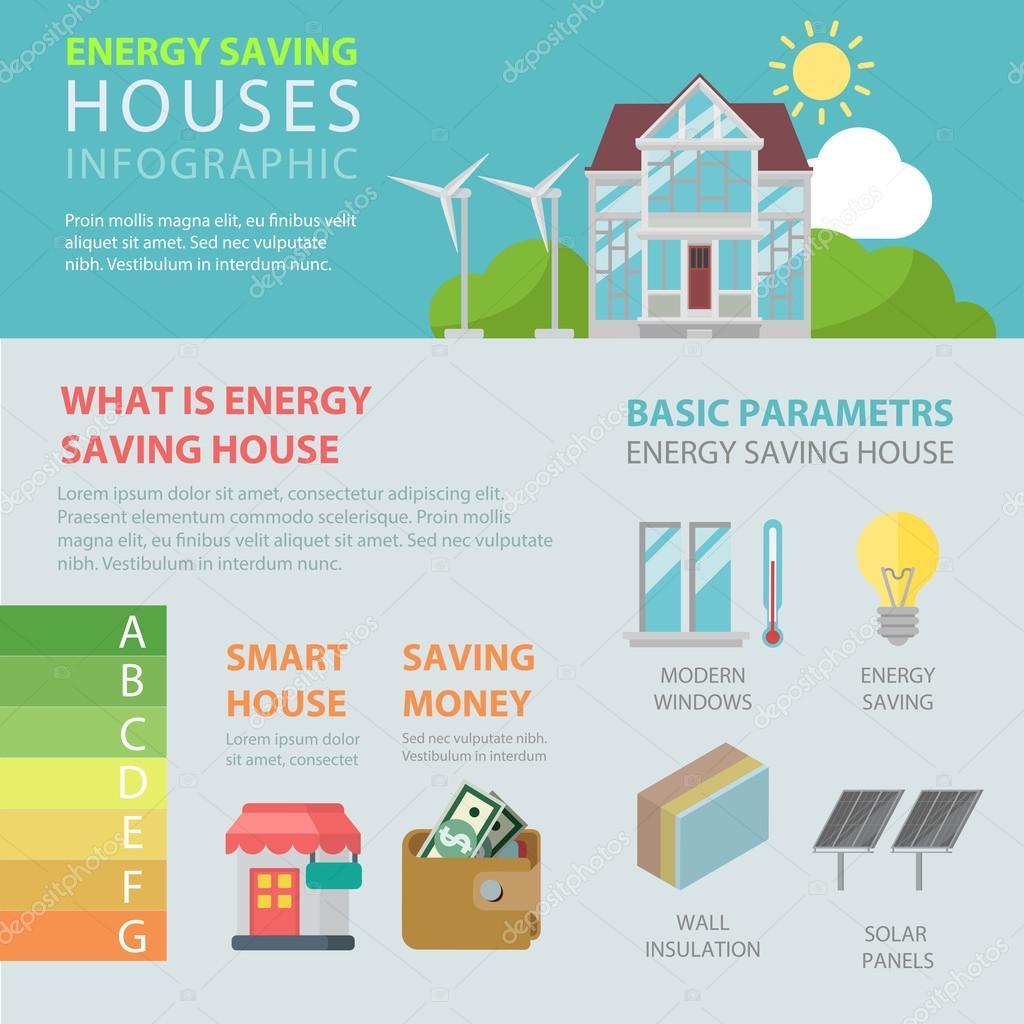 Énergie maison d'économie de style appartement — image vectorielle