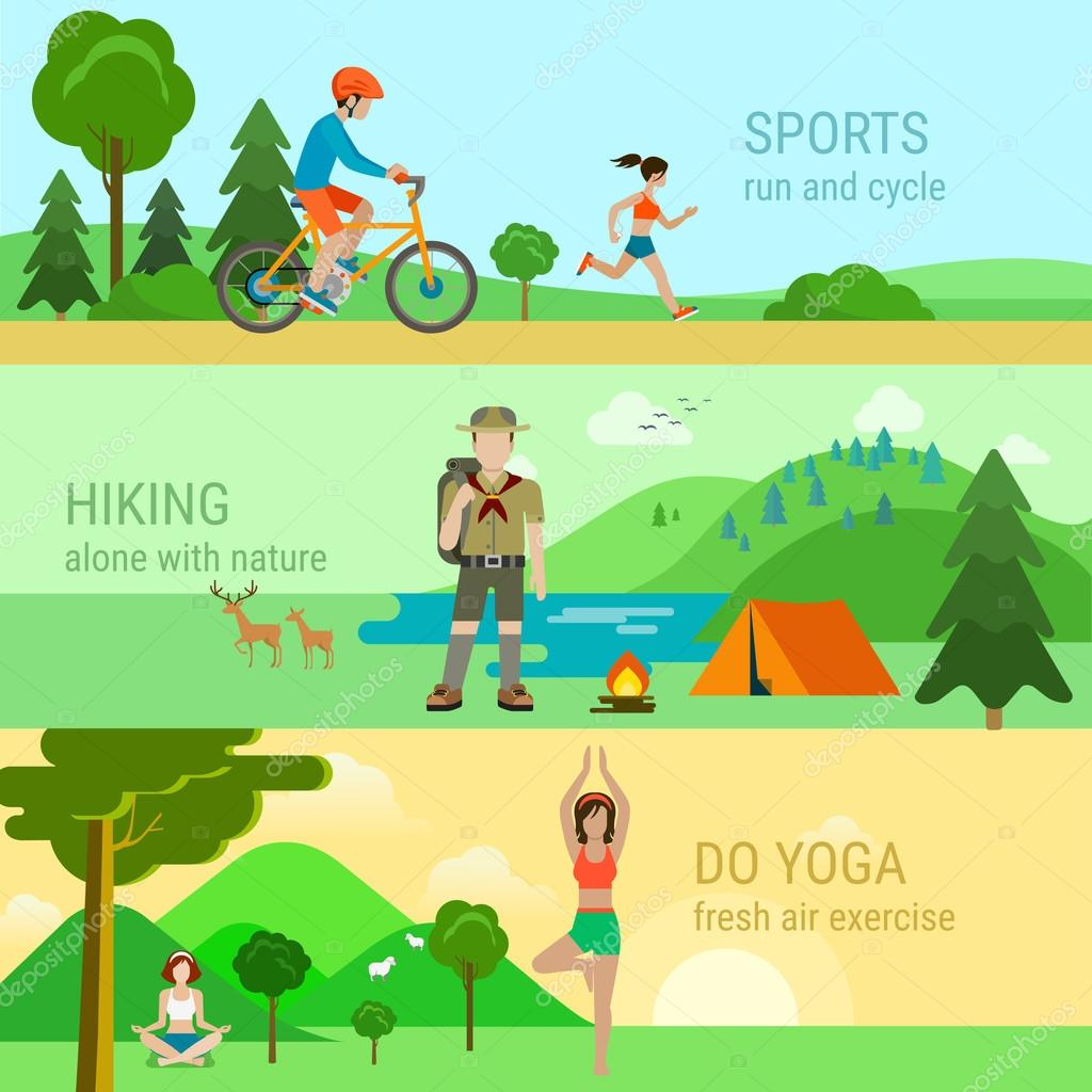 set of sport outdoor activities