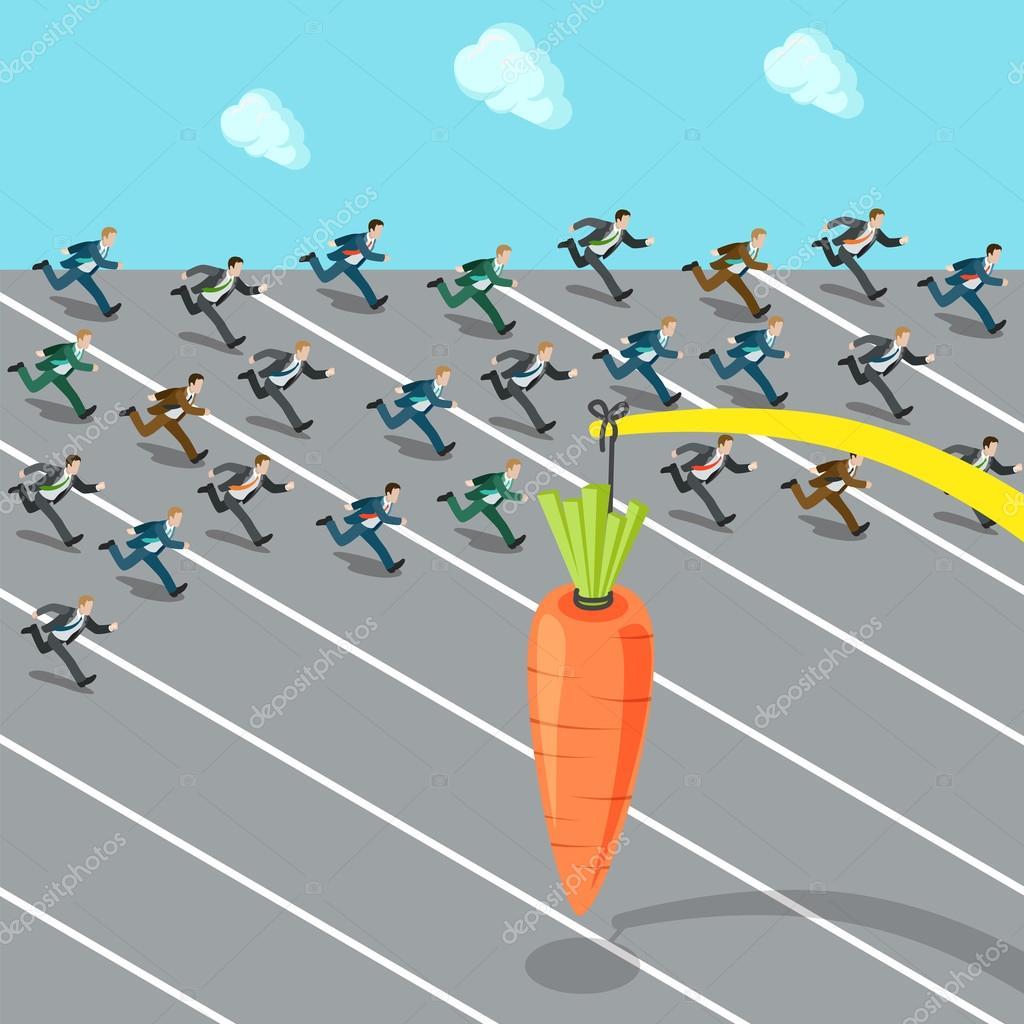 Businessmen crowd running after carrot — Stock Vector