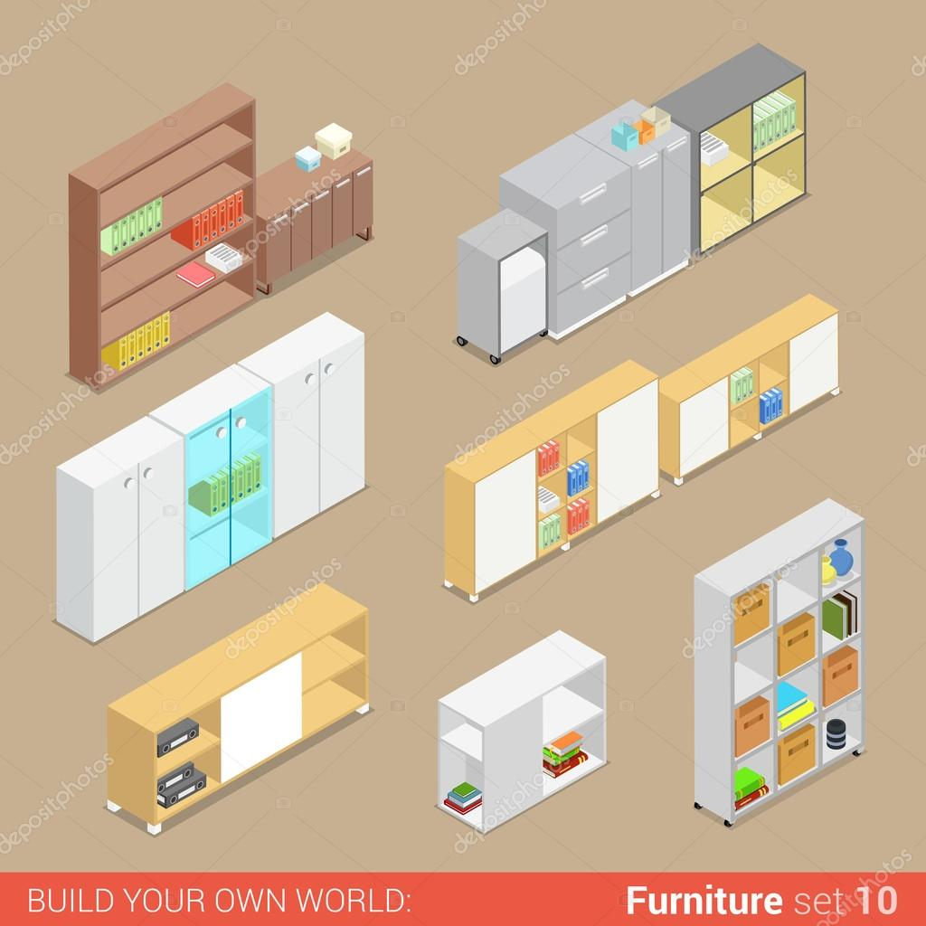 isometric office furniture vector collection. Office Furniture Set Cupboard Folder Shelf Storage Closet Cabinet Chest Locker Element Flat 3d Isometry Isometric Concept Web Infographics Vector Collection U