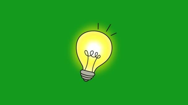 Zářící žárovka zelená obrazovka pohybu grafiky