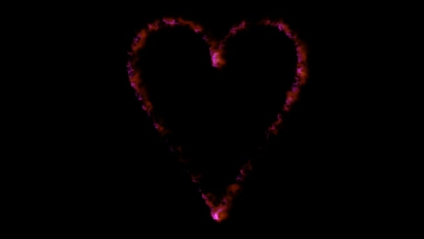 Fire heart motion graphics with night background