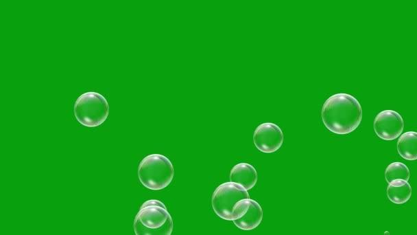 Létající mýdlo bubliny zelená obrazovka pohybu grafiky