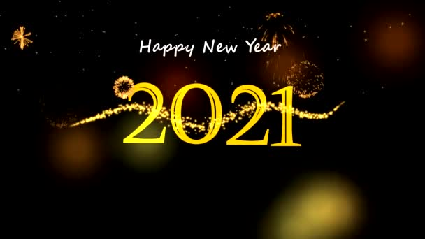 Šťastný nový rok 2021 pohybová grafika s nočním pozadím