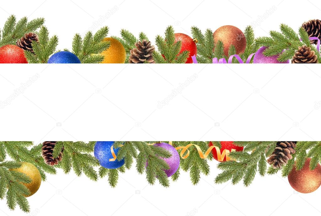 Christmas border with fir branches, pine cones, christmas balls and serpentine