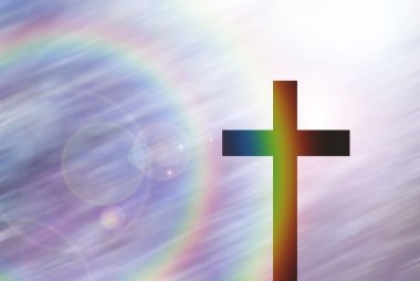 christ cross on abstract motion blur background with lighting lens flare and rainbow for webdesign, colorful background, blurred, wallpaper