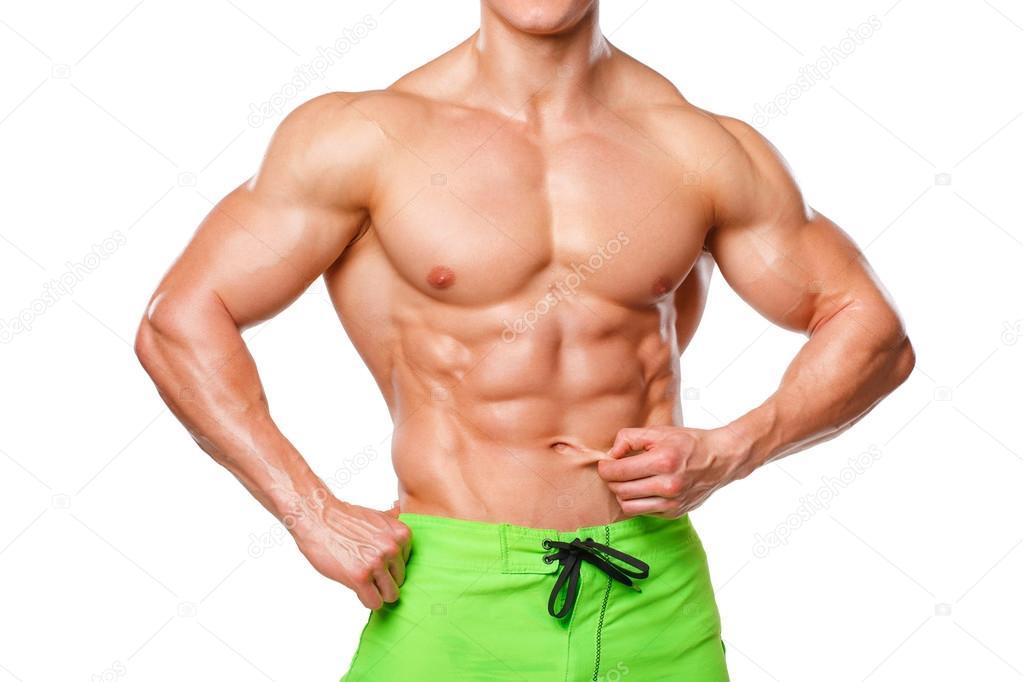 Sexy hombre atlético con músculos abdominales sin grasa, aislado ...