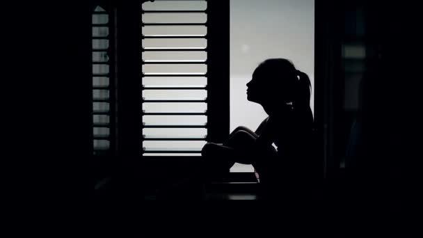 ? auf der Fensterbank sitzen und aus dem Fenster schaute Hild