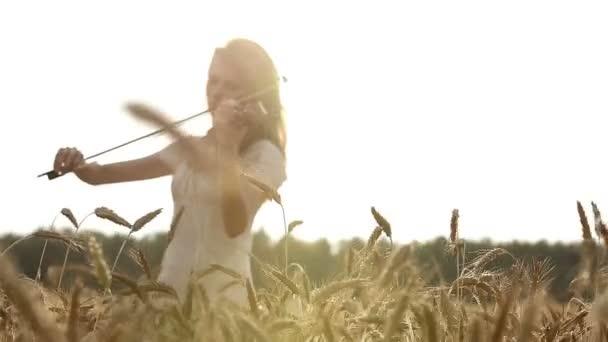Dívka houslista hraje na housle v pšeničné pole