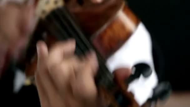 Hegedűs ember játszik a hegedű, a fekete háttér