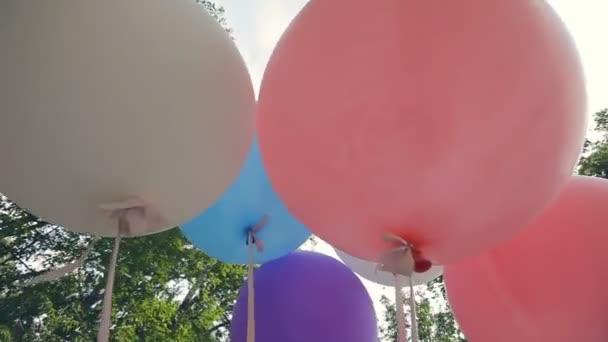große bunte Luftballons im Wald