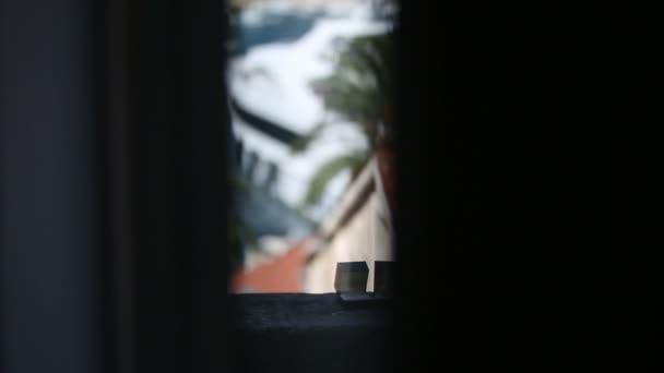 Fedi nuziali nelle caselle sul balcone su uno sfondo di una città esotica