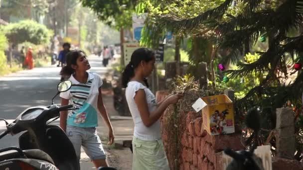 Indien, Goa - 2012: Inderin ziert einen Weihnachtsbaum in Indien in Goa