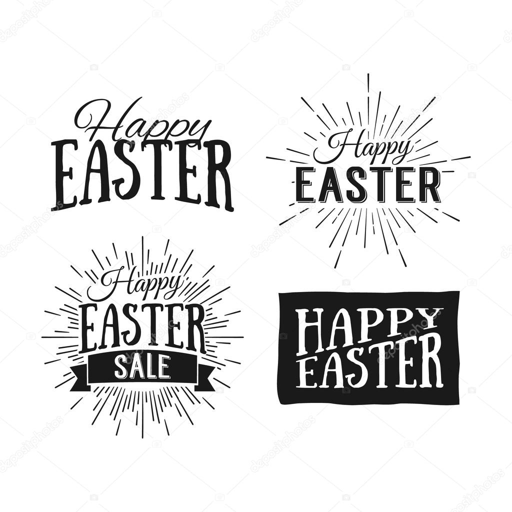Happy easter greeting cards easter sale hand drawn logos stock happy easter greeting cards easter sale hand drawn logos stock vector m4hsunfo