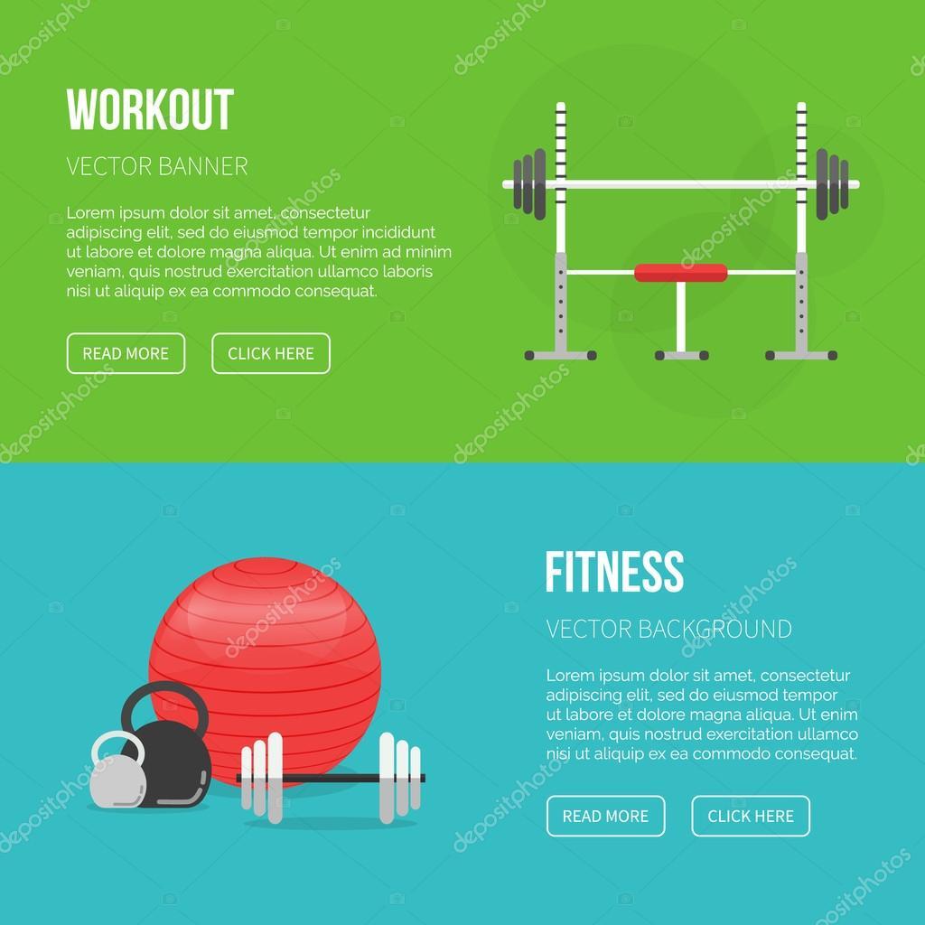 Sport Ausrüstung flache Banner Vorlage. Fitness-Training ...