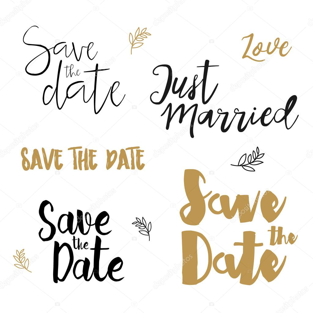 Save the date wedding invitation labels save the date brush save the date wedding invitation labels save the date brush lettering save the date template wedding invitation with hand drawn lettering isolated stopboris Images